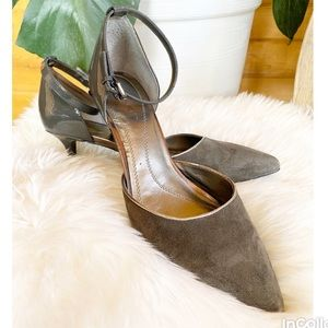Tahari gray suede heel ankle strap Rox pump 8.5